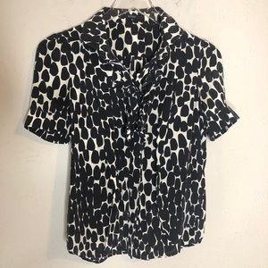 Gucci silk print ruffle blouse